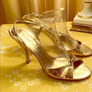 BCBG Gold leather sling back sandals